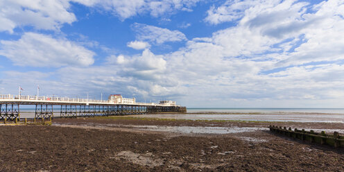 England, Sussex, View of beach at Worthing Pier - WDF001583