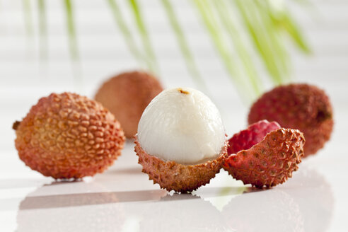 Litchi on white background, close up - CSF016660