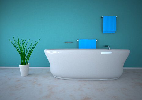3d illustration of bathroom with potted plant - AL000001