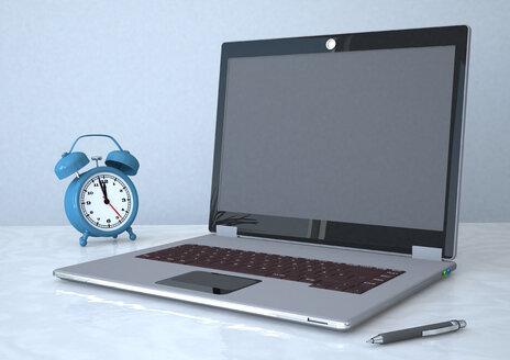 3d illustration of laptop with alarm clock - ALF000005