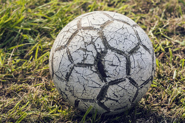 Austria, Close up of old soccer ball - WVF000321