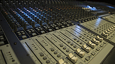Germany, Munich, Controls and dials on audio mixer - DJG000033