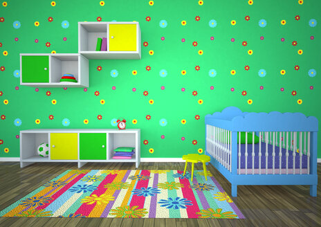 Empty nursery room with green background - AL000011