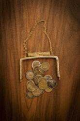 Duesseldorf, Euro coins in purse, close up - KJF000202