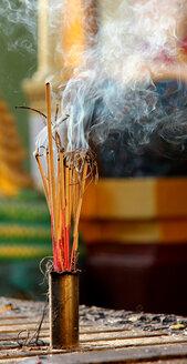 Myanmar, Burning incense sticks at Shwedagon Pagoda - SJF000001