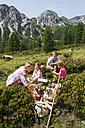 Austria, Salzburg, Family having picnic in mountains - HHF004513