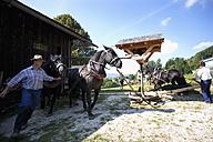 Austria, Salzkammergut, Mondsee, Man working at horse mill - WW002693