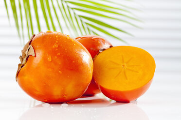Kaki Persimmon with palm leaf, close up - CSF017447