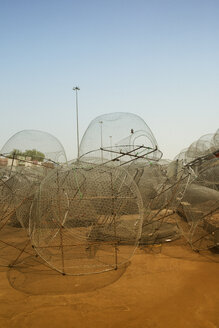 United Arab Emirates, Abu Dhabi, Fishing nets at harbour - TK000055