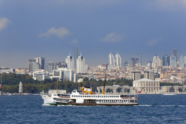 Turkey, Istanbul, View of Dolmabahce Palace and high rises in Sisli - SIE003476