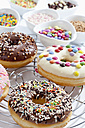 Variety of doughnuts on cooling rack besides bowl of sprinkles - CSF017929