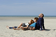 France, Father with son and daugher at beach - LBF000103