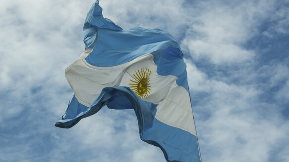 Argentina, Buenos Aires, Argentine flag waving in  wind - DJGF000038