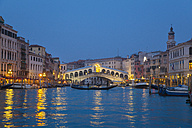 Italy, Venice, View of Grand Canal and Rialto bridge at dusk - HSIF000146