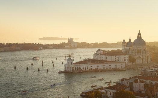 Italy, Venice, Canal Grande and Santa Maria della Salute church at dusk - HSIF000259