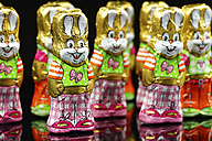 Chocolate easter bunnies on black background, close up - HOH000128