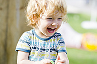 Austria, Boy laughing and looking away, close up - LF000513