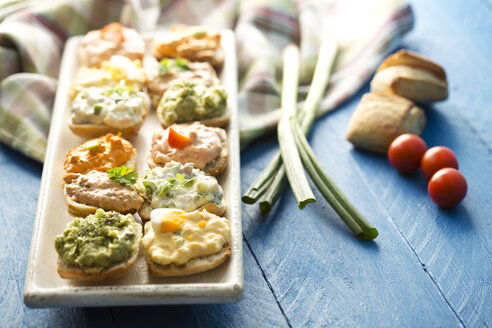 Variety of spreads on tray with tuna, egg, tomato, mozarella, ham, green onions, liptauer and avocado - MAEF006374
