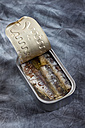 Can of sardines in oil on textile - CSF018762