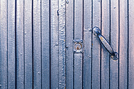 Spain, Blue garage door, close up - WVF000381