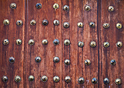 Spain, Wooden door, close up - WVF000362