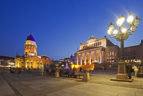 Germany, Berlin, View of Gendarmenmarkt square illuminated at night - ALE000039