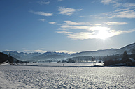 Germany, Bavaria, View of mountains of Allgaeu Alps and Bavarian Alps in winter - ALE000036
