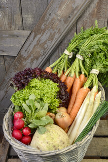 Germany, Carrots, asparagus, celery, onions, garden radish, chives in basket - ONF000154