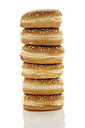 Hamburger bread stack on white background, close up - MAEF006489