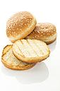 Hamburger bread on white background, close up - MAEF006493
