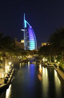 United Arab Emirates, Dubai, View of Burj al Arab hotel and Madinat  Jumeirah - LH000061