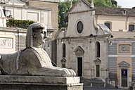 Italy, Rome, Sphinx statue and Church of Santa Maria del Popolo - MIZ000302