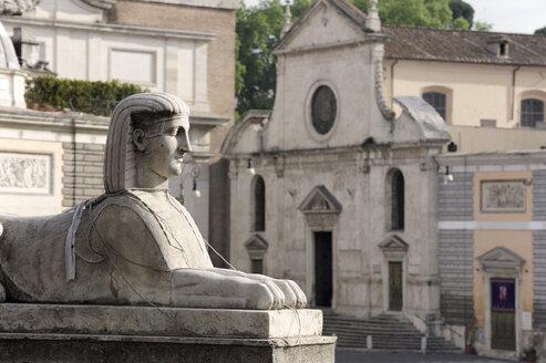 Italy, Rome, Sphinx statue and Church of Santa Maria del Popolo - MIZ000302