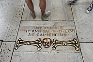 Italy, Rome, Bones on stone flooring in church of Santa Maria del Popolo - MIZ000323