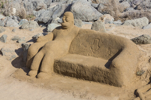 Spain, Gran Canaria, Sand sculpture on beach of Maspalomas - MAB000013