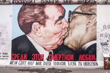 Germany, Berlin, Mural painting of Brezhnev ond Honecker kissing - CB000030