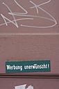 Germany, Hesse, Frankfurt, No advertising sign board, close up - MU001325