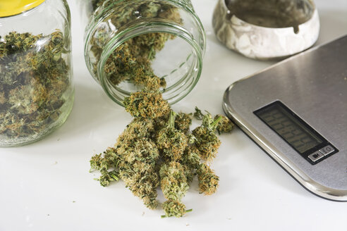 Studio, Marijuana drugs with digital scale on white background, close up - REA000006
