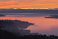 Germany, Baden Wuerttemberg, View of Lake Constance with red clouds and fog above water - SH000681