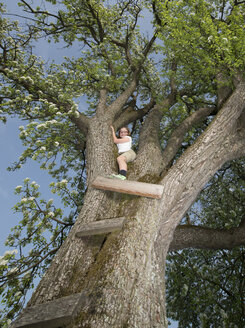 Austria, Girl crawling on tree - CWF000051