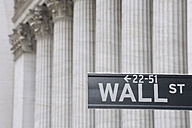 USA, New York State, Manhattan, Wall street sign against Stock Exchange pillars - RUEF001035