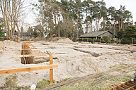 Germany, Brandenburg, Strip foundation with armoring at construction site - FK000187