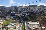 Portugal, Funchal, Cable car passing by houses at Madeira - AMF000179