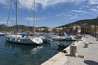 Spain, Balearic Islands, Mallorca, View of sailingboats at port Andratx - AM000266