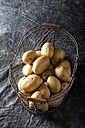 Raw potatoes in basket, close up - CSF019313