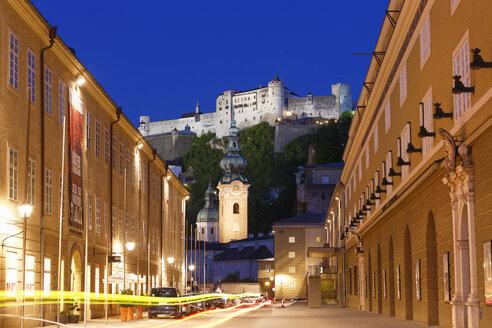 Austria, Salzburg, View of Hohensalzburg Castle and university - SIE003936