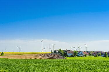 Germany, Saxony, Wind turbines in oilseed rape field - MJ000197