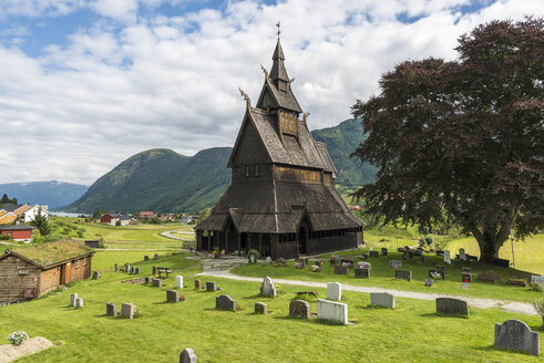 Norway, View of Hopperstad Stave Church and grave stones - HWO000060
