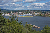 Norway, Kristiansand, View of town and bay - HWO000056