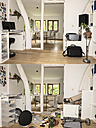 Germany, North Rhine Westphalia, Interior of house before and after burglary - ON000209